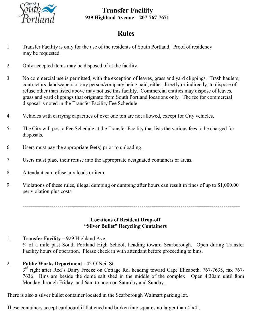 City of south portland transfer facility rules transfer facility rules aiddatafo Choice Image
